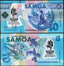 Samoa 10 Tala 2019, UNC, 5 Pcs LOT , Comm.,P-New, Polymer, NEW DESIGN Serial 001