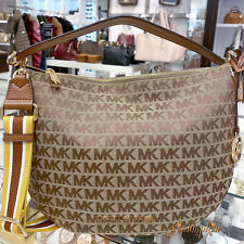 Michael Kors Bedford Medium Shoulder Bag Convertible Xbody Hobo Beige Luggage
