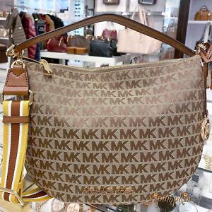 Michael Kors Bedford Medium Shoulder Bag Convertible Xbody Hobo Beige Luggage