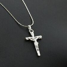 1pc Herren Damen Mode Silber Kreuz Jesus-Charme-Anhänger-Halskette Neu