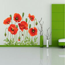 RED POPPY Removable Wall Decals Home Decor Art Flower Vinyl Mural Wall Stickers