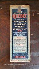 1930 Road Map Of Quebec Canada