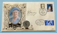 Benham 26.4.1998 Queen Mother FDC signed EARL of STRATHMORE, Glamis, florin Coin