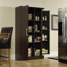 Large Kitchen Cabinet Storage Food Pantry Wooden Shelf Cupboard Dark Oak Finish