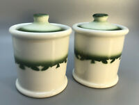 Vintage Jackson China Resturant Ware Condiment Jars Pair White Green