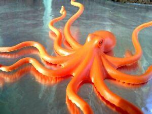 Octopus Orange Sea Creature Ocean Animal Toy Figure solid PVC figurine 6in. 3+