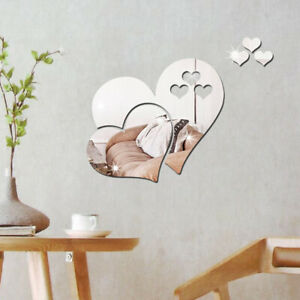 3D Mirror Love Hearts Wall Sticker DIY Removable Decal Art Mural Room Home Decor
