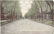 Farwell Street Looking North in Eau Claire WI Postcard