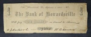 1861 $1 The Bank of Howardsville, Virginia Obsolete Currency Note