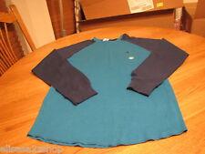 Men's Volcom stone surf skate brand long sleeve shirt S turquoise blue thermal