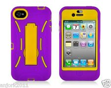 Apple iPhone 4 4S S Armor Hybrid Case Skin Cover w/ Kickstand Purple Yellow