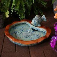 "Sunnydaze Glazed Ceramic Fish Outdoor Water Fountain 7"" Patio & Garden Feature"