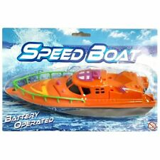 Battery Operated Speedboat Toy - Assorted Colour - Gift Girls Boys Pool Bath