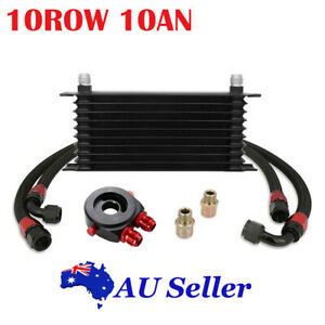 Universal 10 Row 10AN Engine Transmission Oil Cooler W/ Filter Adapter Hose Kit