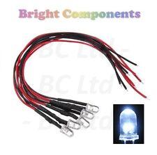 10 x Pre-Wired White LED 5mm Ultra Bright : 5V ~ 7V : 1st CLASS POST