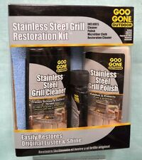 Stainless STEEL Grill RESTORATION Kit Cleaner Goo GONE 4 PC Polish Grease Shine