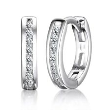 925 Sterling SILVER, GOLD or ROSE finish Sparkling Single Row Hoop Earrings