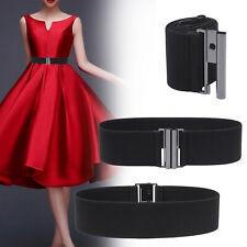 Ladies Plus Size 20-36 Rustic Silver Black Wide Elastic Waist Belt