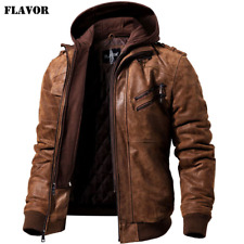 Men's Real Leather Jacket Men Motorcycle Removable Hood winter coat Men Warm Gen
