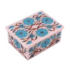"4"" x 3"" x 2"" Marble jewelry Box Semi Precious Stone Inlay Work home decor"