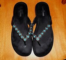 Women's Genuine Minnetonka Black Leather Turq Bead FlipFlop Sandals Sz10 FREE SH