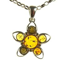 BALTIC AMBER STERLING SILVER 925 STAR PENDANT NECKLACE SNAKE CHAIN JEWELLERY