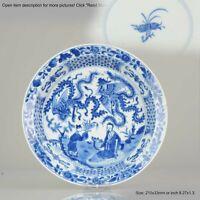 Ca 1700 Kangxi Chinese Porcelain Plate Phoenix Figures Marked Lingzhi fu...