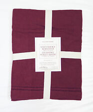 """Williams Sonoma Double Hemstitched Linen Table Runner Red Wine 16"""" X 108"""" NWT"""