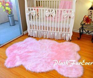 "58"" x 84"" Baby Pink Sheepskin Nursery Girl Room Area Rug Decor Shaggy Plush"