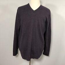 Eddie Bauer Men Cotton Cashmere Sweater V-Neck Size TL Deep Purple Top - D43