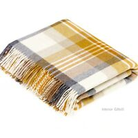 BRONTE MELBOURNE GOLD & CREAM Check Throw MERINO LAMBSWOOL Wool Blanket SOFT