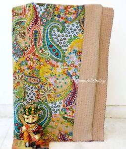 100%Cotton Indian Handmade Kantha Hippie Queen-Vintage Bedspread Quilt-Blanket