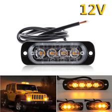 12V Car Truck 4 LED Amber Emergency Strobe Light bar Beacon Warning Hazard Flash