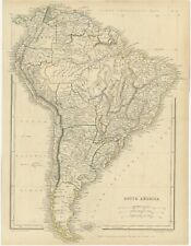 Antique Map of South America by Sharpe (1849)