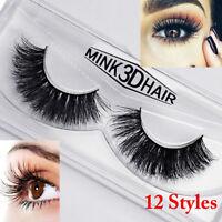 SK 1Pair Handmade 3D Soft Mink Hair False Eyelashes Messy Fluffy Eye Lashes
