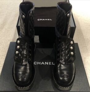 New Chanel Black Tall Combat Boots Pearl Women's Quilted Leather Size 39.5