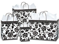 125 Black White Floral Brocade Gloss Holiday Weddings Paper Shopping Gift Bags