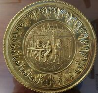 Vintage Brass Embossed Wall Hanging Plate Made In England  12 In