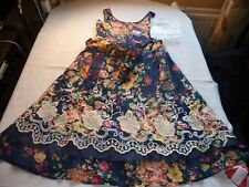 JOE BROWNS SIZE 10 PERFECT PICNIC DRESS NAVY/FLORAL SLEEVELESS BNWT