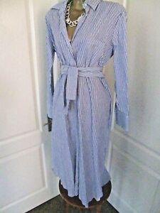 ZARA STUDIO BLUE / WHITE STRIPED SHIRT DRESS SIZE MEDIUM