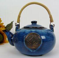 Vintage Ceramic Stoneware Teapot w Beautiful Blueish Brown Glazing Bamboo Handle