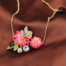 Collier Doré Court Email Vert Rose Multicolore Fleur Papillon Insecte Fin L7
