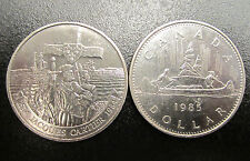 CANADA $1 DOLLAR COIN SET OF 2 LARGES COINS 1984 1985 NICKEL EXCELLENT SHAPE