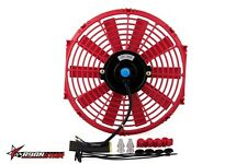 Universal car 12 inch 12V Electric plastic radiator cooling fan Red color