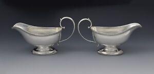 Pair George III Silver Pedestal Sauceboats Crispin Fuller Sauce Boats Antique