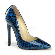 Pleaser SEXY-20 Women's Blue Pearlized Patent Stiletto High Heel Pointy Toe Pump