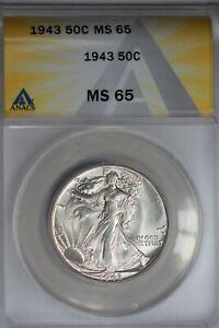 1943  .50   ANACS  MS 65  Walking Liberty, Half Dollar, Lady Liberty Half