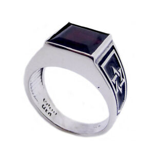 Square College Ring Star Of David Gemstone Sterling Silver 925 Judaica Jewelry