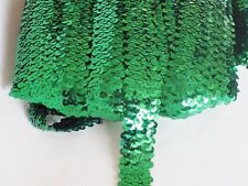 1 Metre of 30mm wide 3 ROW ELASTIC STRETCH SEQUIN TRIM : Select from 10 Colours