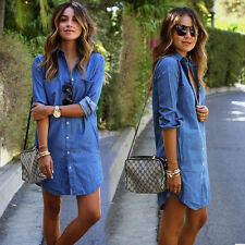 Womens Turndown Denim Look Long Sleeve Casual Tops Shirt Jeans Short Mini Dress